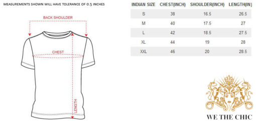 we the chic T-Shirt Size chart